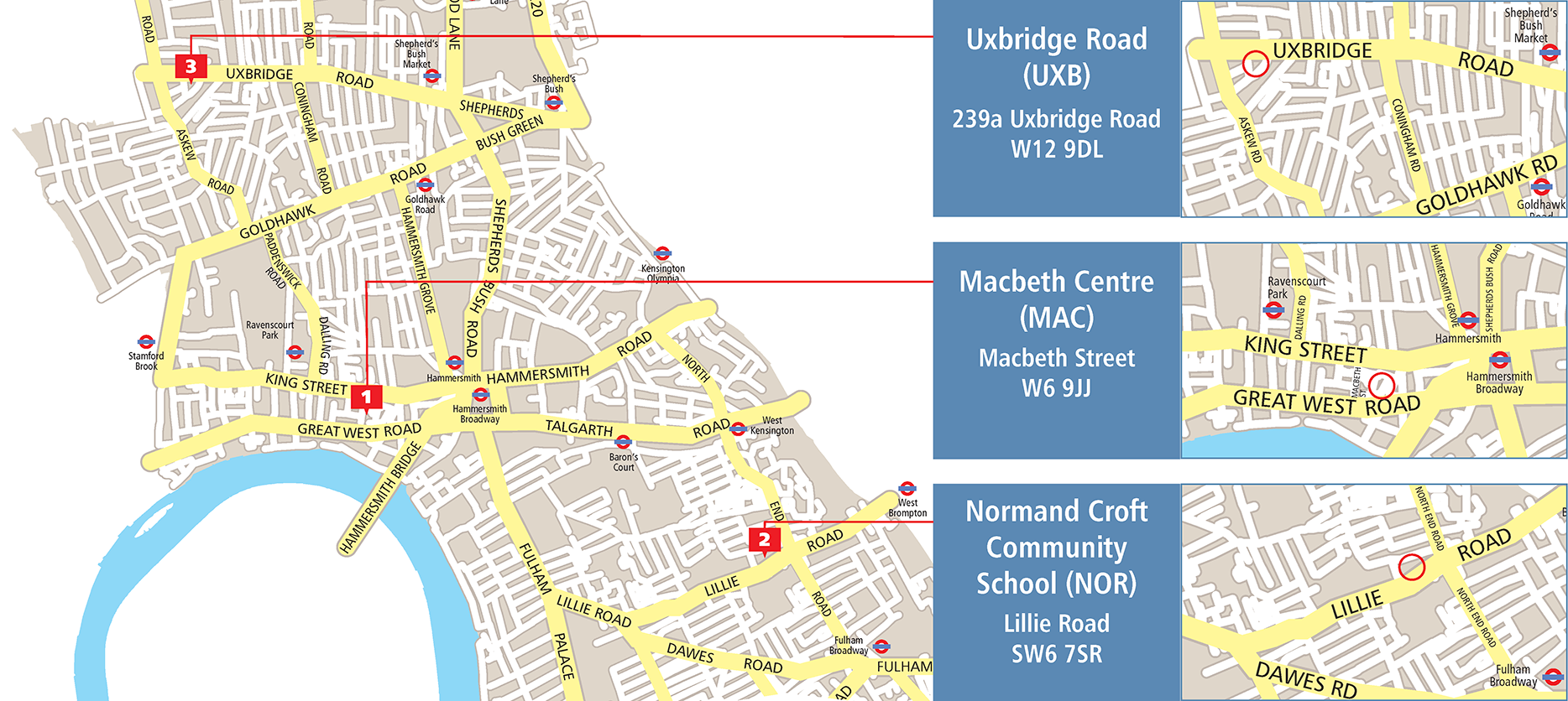 Larger map with inset maps of Uxbridge Rd, Macbeth and Normand Croft venues