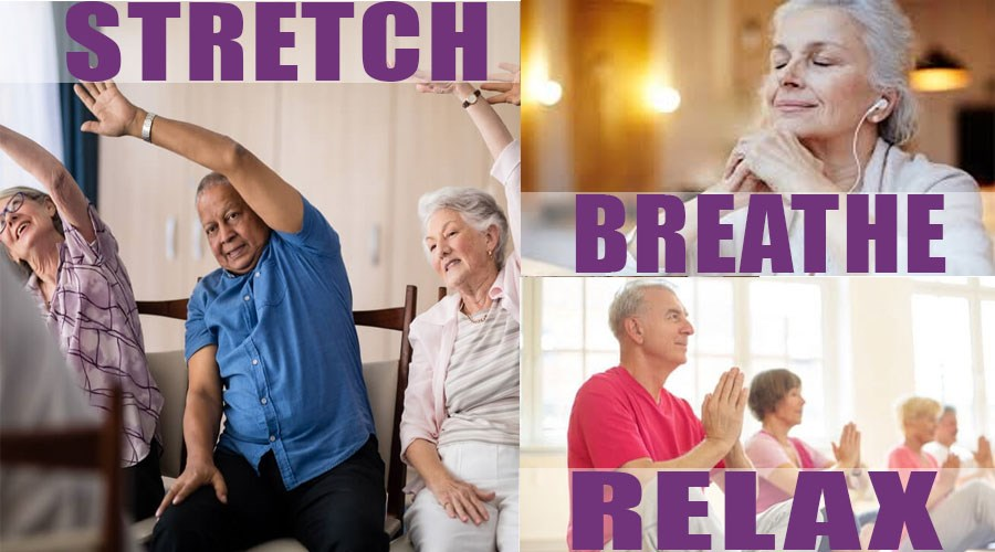 collage of people stretching, breathing and taking yoga