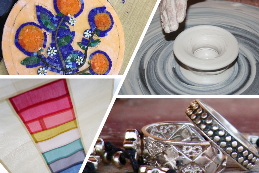 Collage of mosaic, pottery, patchwork and jewellery images