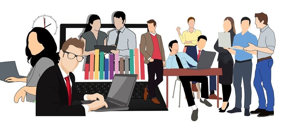 vector graphic image of people doing different kinds of work