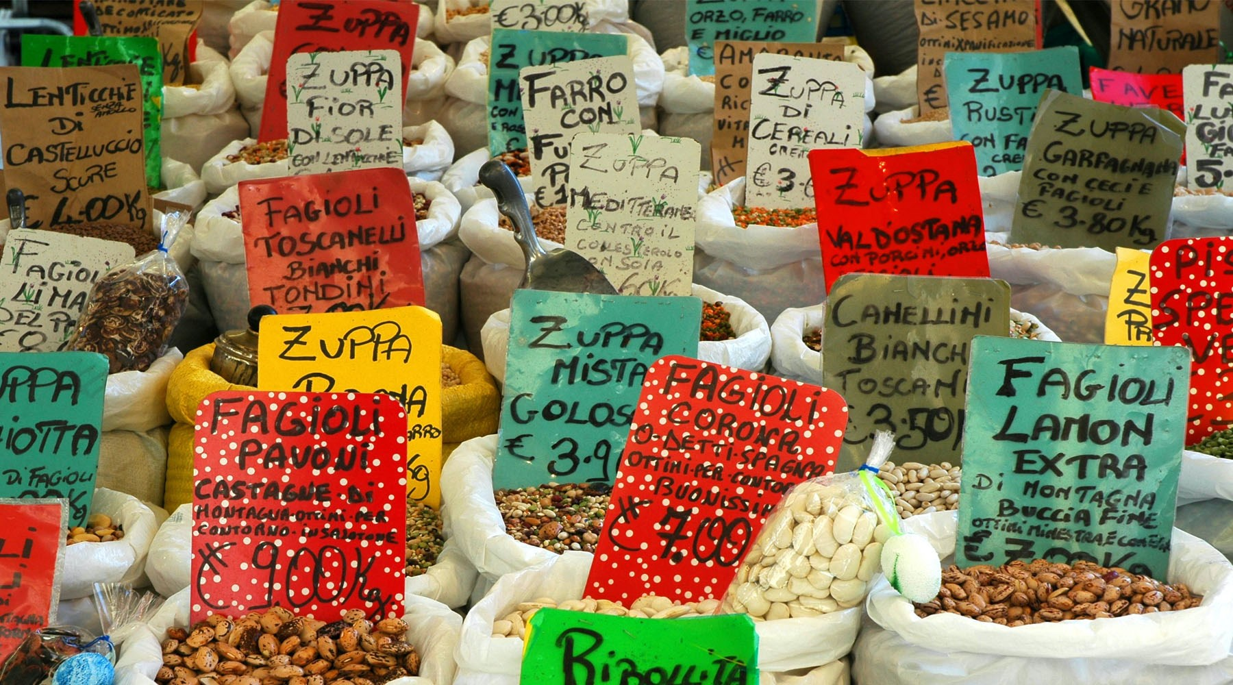 Market stall of beans for sale