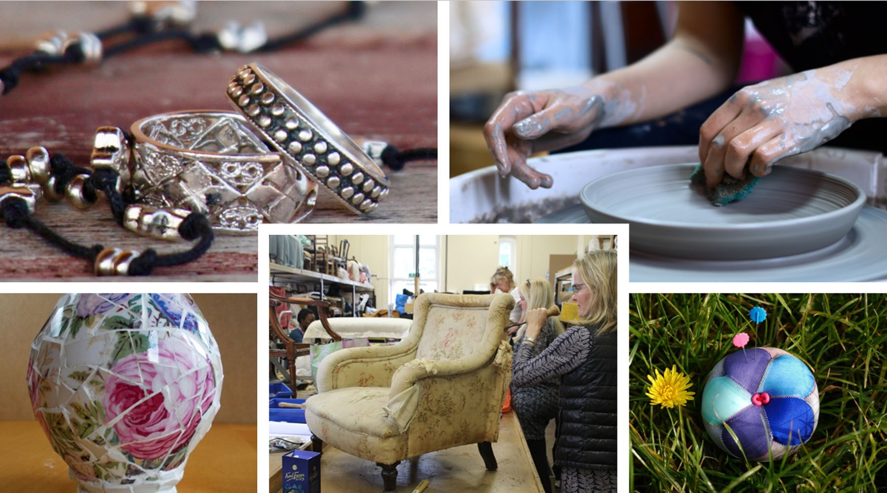 Collage of jewellery, clay spinning, mosaic vase, upholstery and patchwork