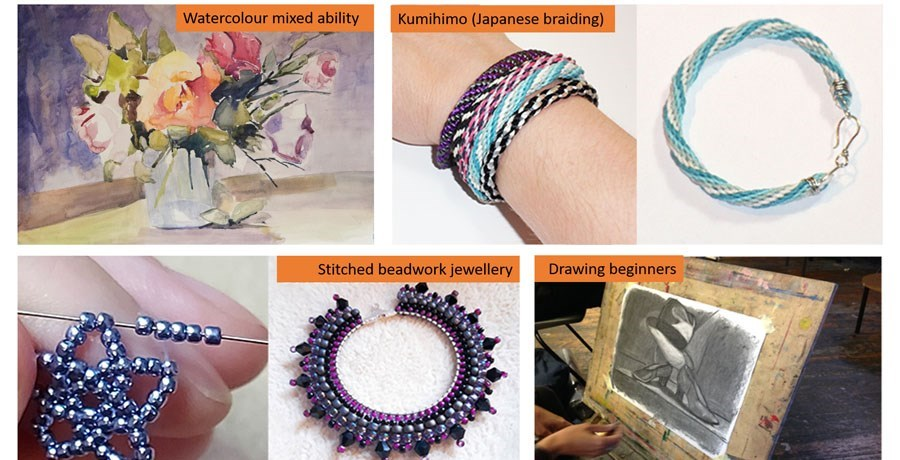 Collage of watercolour painting, drawing and jewellery making