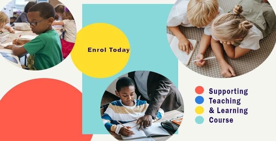 Collage of children doing school work
