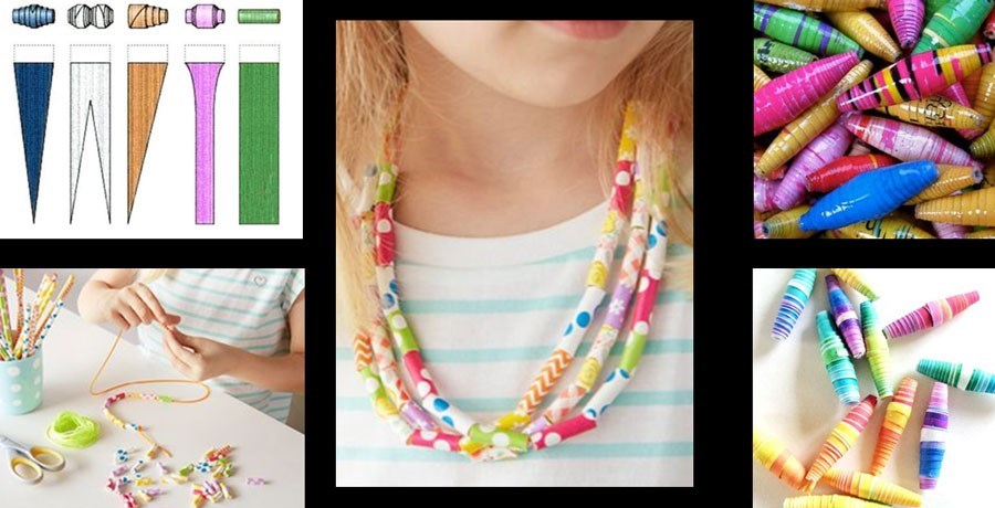 Collage of paper bead jewellery craft